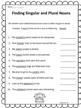 Enjoy this free Singular and Plural noun worksheet, It can also be found in my Singular and Plural Possessive Noun Activities for Students product,