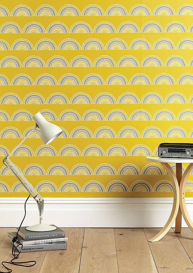 Retro print sunshine yellow wallpaper