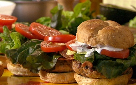 Chicken Burgers with Garlic-Rosemary Mayonnaise