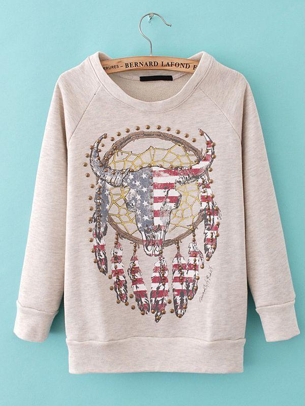 Print Cotton Slim Round Neck Pullover Sweatshirt