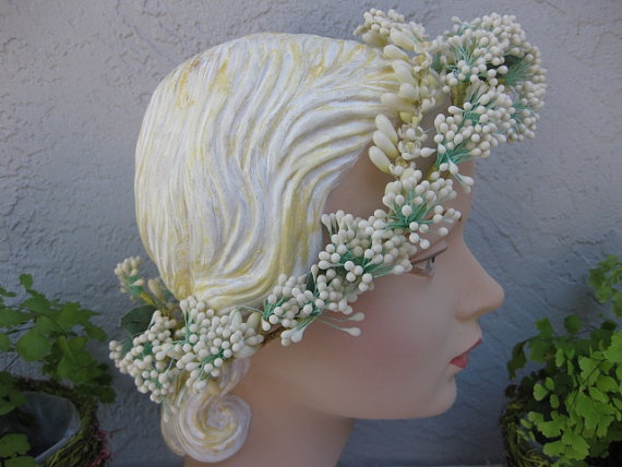 Antique Victorian Wax Flower Wedding Headpiece Bridal Steampunk