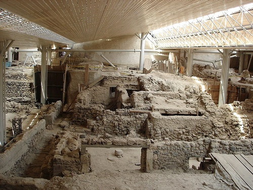 Possibly the Lost City of Atlantis is the Prehistoric Site of Akrotiri, Santorini. City was preserved by eruption of volcano