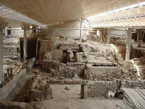 Prehistoric Site of Akrotiri, Santorini. City was preserved by eruption of volcano