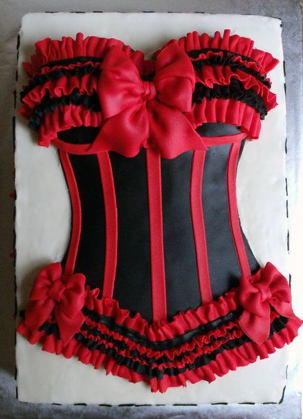 Red and Black Bustier Bridal Shower Cake