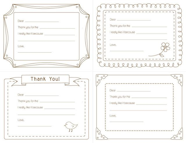 Kid's PRINTABLE  Thank You Notes
