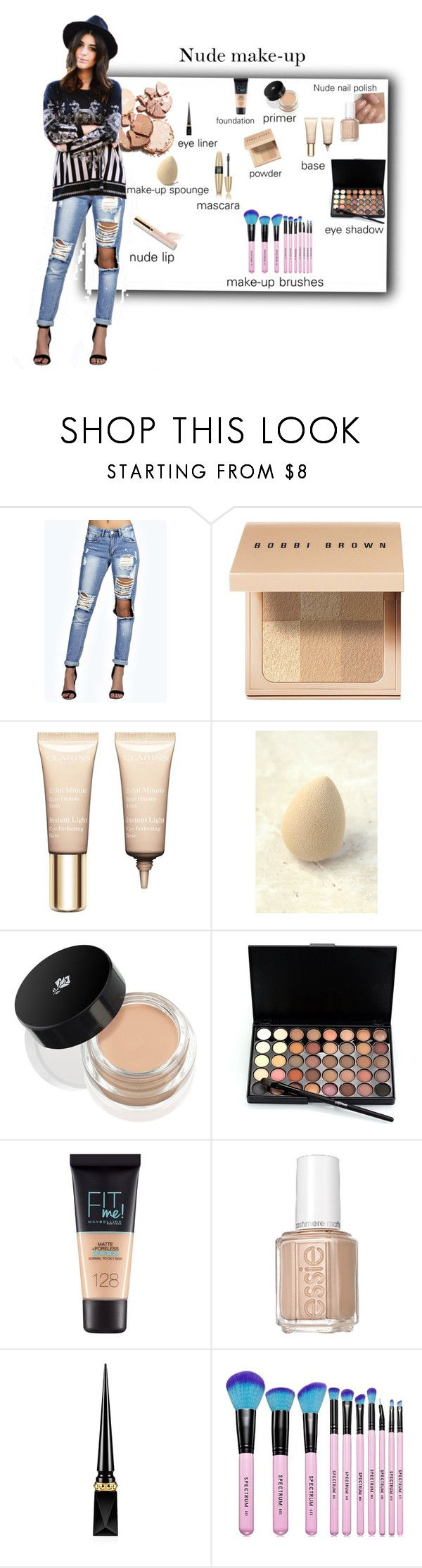 """What's in my make-up bag"" by tattooedmum ❤ liked on Polyvore featuring Boohoo, Bobbi Brown Cosmetics, Clarins, beautyblender, Lancôme, Maybelline, Essie, Victoria's Secret, Christian Louboutin and Spectrum"