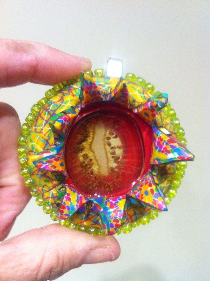 Exploding kiwi fruit pendant, front #2015PCChallenge