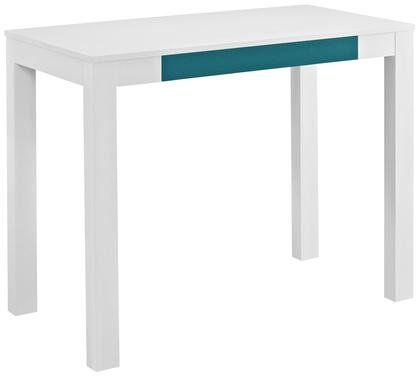 Altra Furniture Parsons Study Desk with Drawer - White Finish With Teal Drawer Front