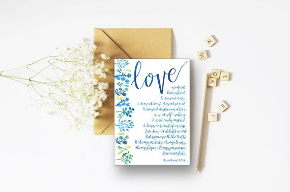 Love Never Fails A6 Card - Wedding Card - Engagement Card - Anniversary Card - Christian Cards - Floral Cards - Encouraging Card