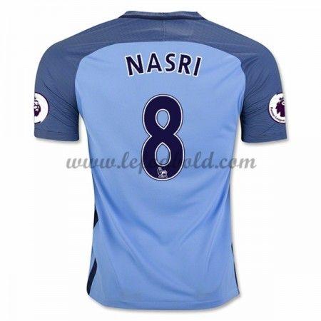 Billige Fodboldtrøjer Manchester City 2016-17 Nasri 8 Kortærmet Hjemmebanetrøje