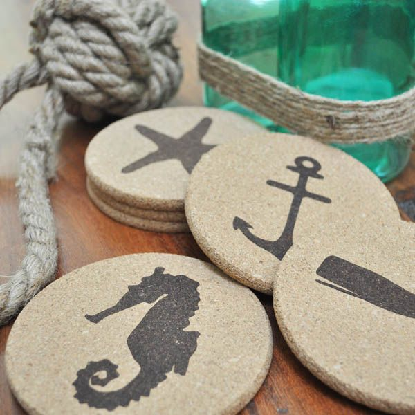 Bring those beach (or lake!) vibes to your parties or get togethers this summer with our fun nautical inspired cork coasters. Perfect as a gift, too! #corkcoasters #nauticalcoasters #beachgifts #lakehousegifts #lakegifts #beachhousegifts #hostessgifts #beachcoasters #lakecoasters