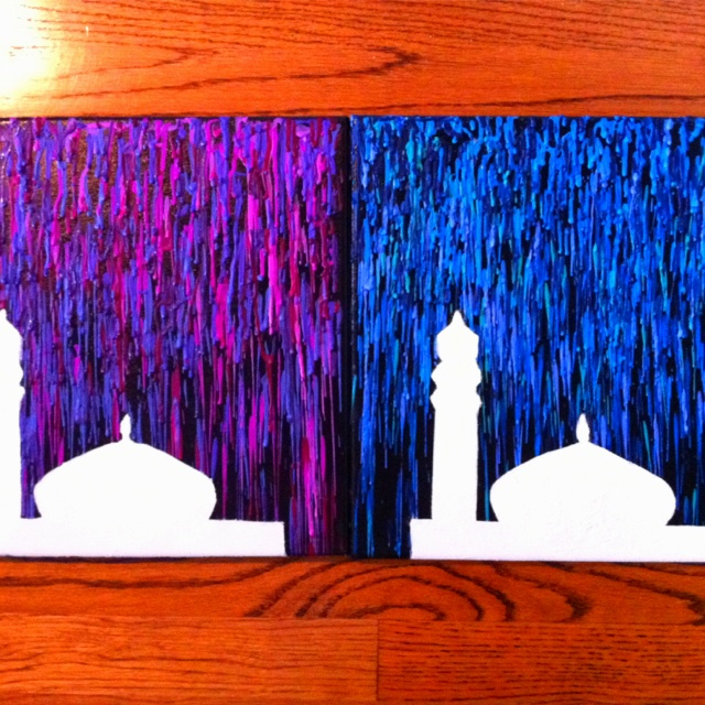 99 Creative Mosque Projects - Mosque melted crayon art - me and maaria made them! we printed an image of a mosque online, taped in down, painted the rest of the canvas black, then put some crayons in a glue gun and shoot them down. then painted the blank canvas mosque white.