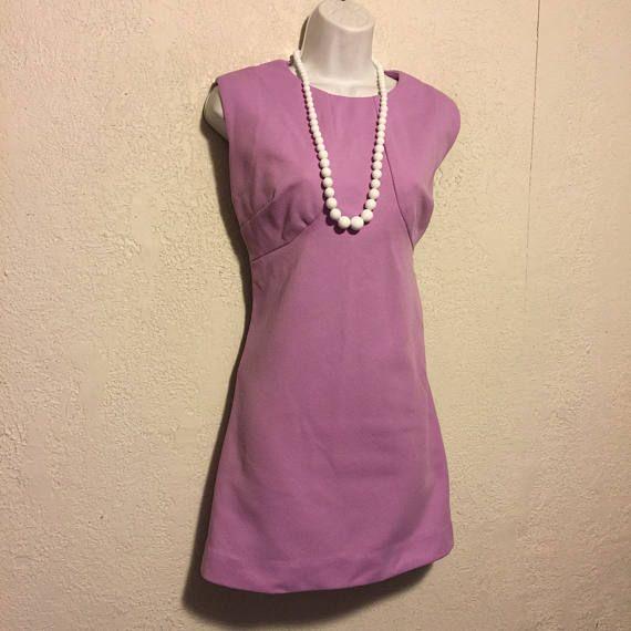 Cute Vintage Lilac Purple Mini Dress  Sleeveless Textured