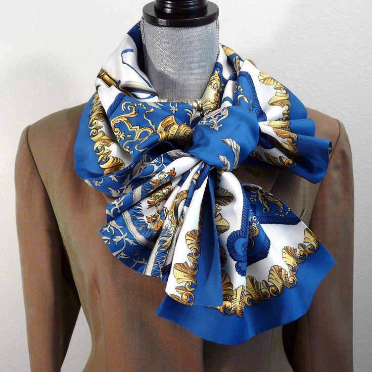 Authentic Vintage Hermes Reversible Silk Opera Scarf Ludovicus Magnus Blue Rare
