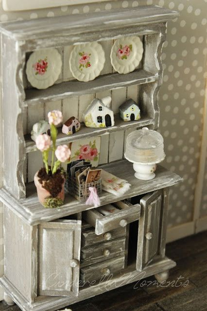 Miniature shabby chic cabinet by Cinderella Moments: 2017
