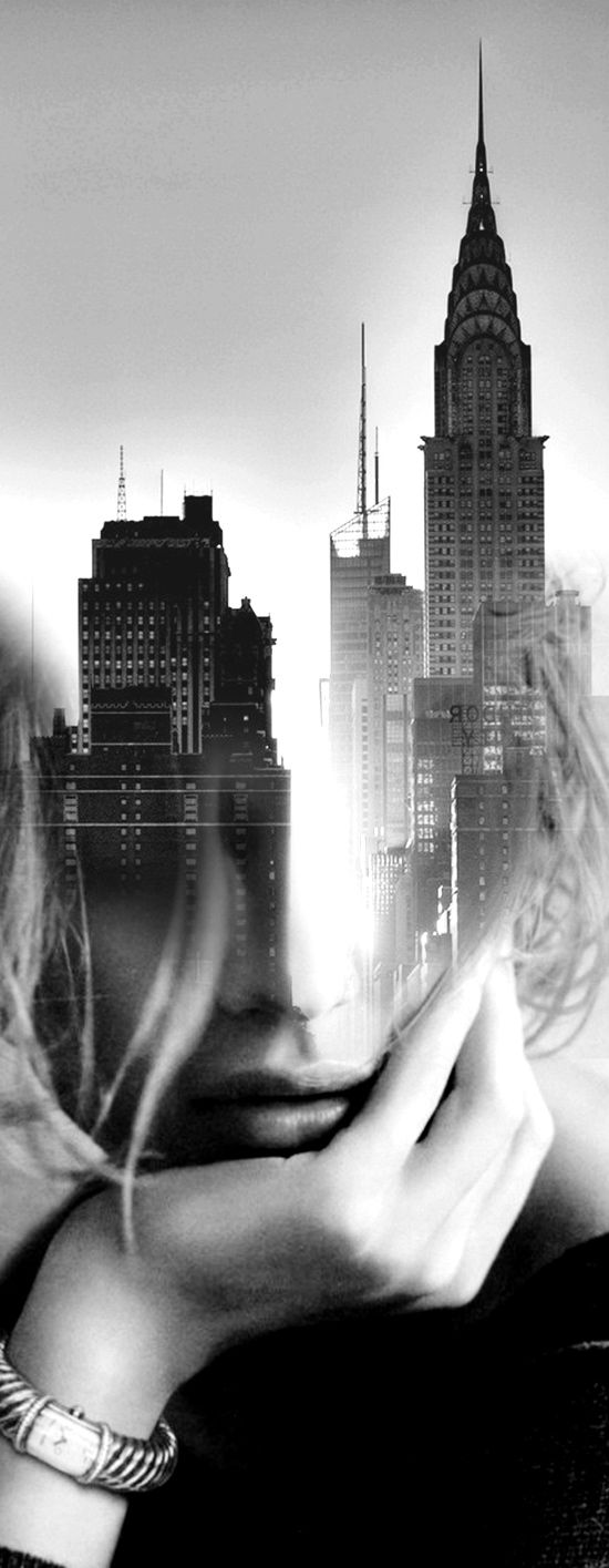 New York State of Mind I chose this because I really want to try this effect for myself love how the buildings are overlapping the face of the girl plus her face is emerging out of the buildings makes it look like she is all ghosty her face is being made up of the buildings to create shape, the black and white works I think if there was colour it would actually ruin the piece. It's simple and easy to do but yet it looks so complex and startling at the same time.