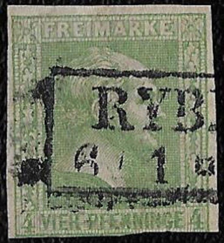 + 1858 Prussia German States King William IV Head Bust #9 A4 4pf Polish Railways