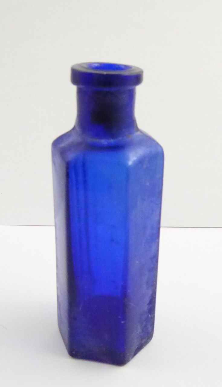Blue Cobalt 1 oz 1800s Antique Glass Poison Bottle Embossed 'Not to be Taken' - The Collectors Bag