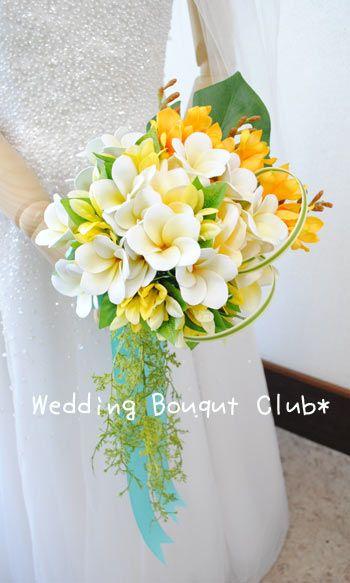 希少価値の高いプルメリアと大きなバラを使った上品なプルメリアブーケ|Wedding Bouquet Club