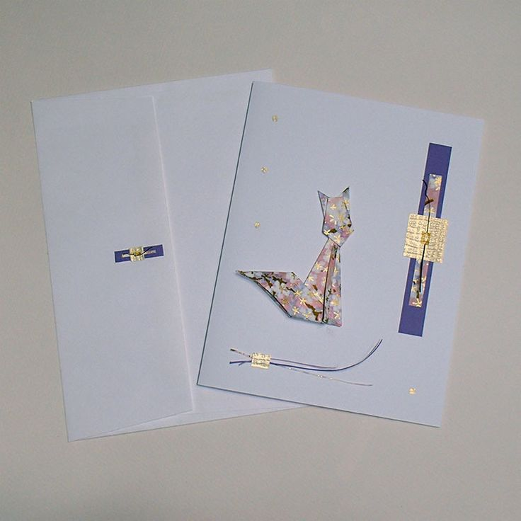 Carte de souhaits ''Le chat aux fleurs roses'' : Cartes par orijuju-shop