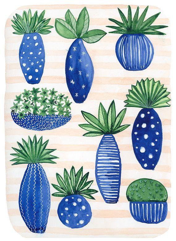 Art de cactus palmiers plantes affiche impression par KlikaBoutique
