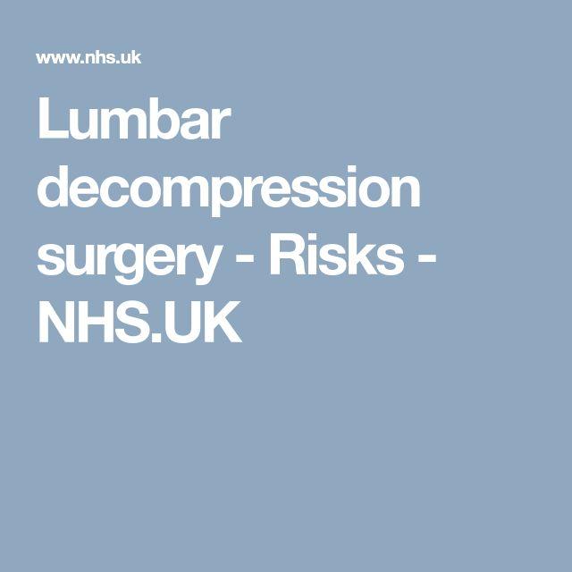 Lumbar decompression surgery - Risks                                                                                 - NHS.UK
