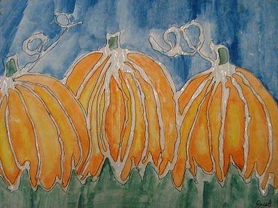 Glue Line Pumpkin Painting