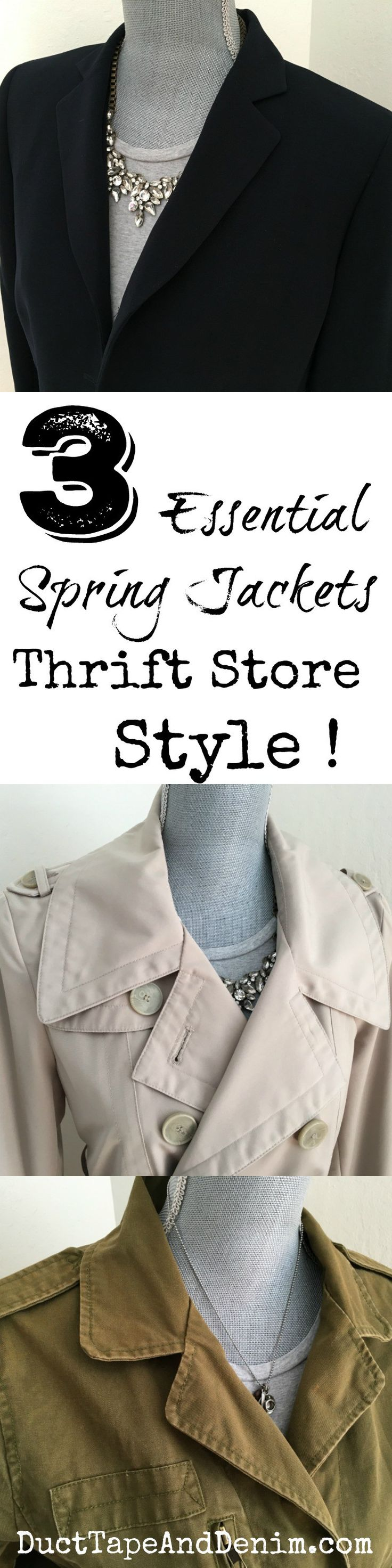 3 Essential Spring Jackets, Thrift Store Style ~ spring fashion ~ capsule wardrobe ~ navy blazer, trench coat, utility jacket ~ DuctTapeAndDenim.com
