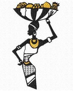 African Lady kosz owoców haftowane http://www.embroiderydesignsfeathers.com/african-art/