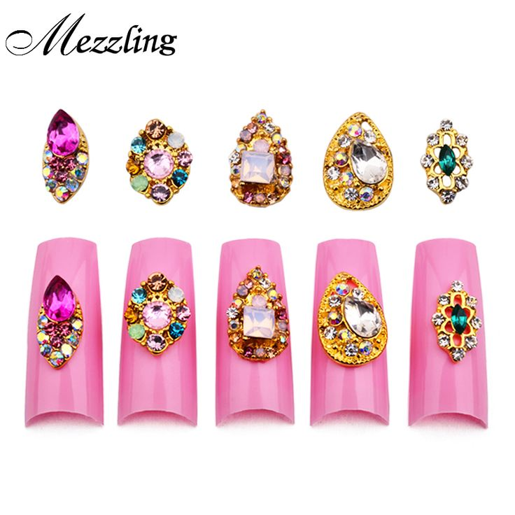 10pcs New Teardrop Nail Rhinestones Gems 3d Gold Alloy Strass Nail Accessories DIY Charm Nail Jewelry Decorations