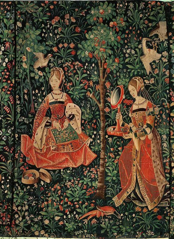 Medieval tapestry, ladies embroidering