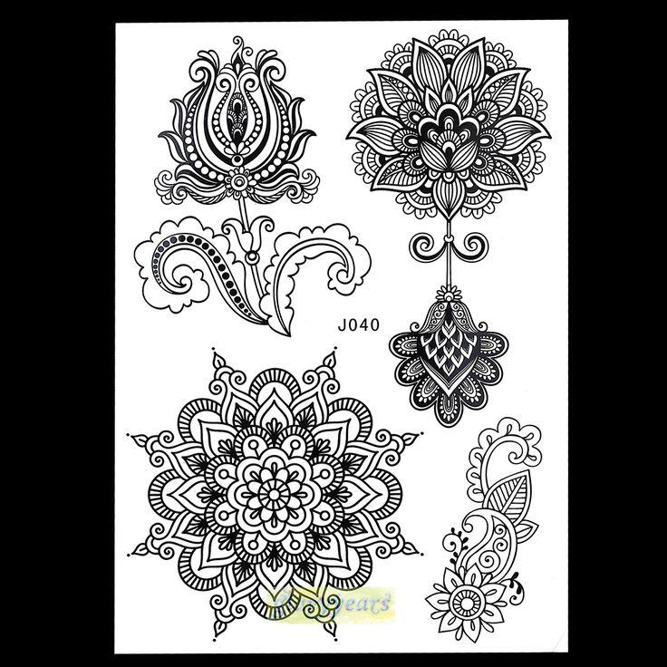 1 UNID Nueva Mezcla Diseños de Imagen para Mujeres Sexy Cuerpo Belleza y salud BJ040 Henna Mehndi Tatuaje Temporal Flor de Loto de Encaje desbobinador