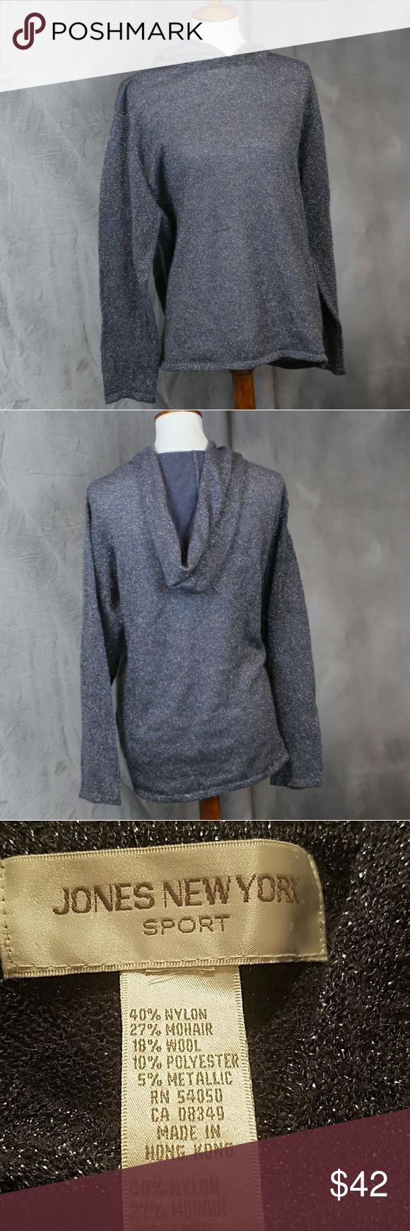 Jones New York dusty blue metallic silver hoodie L Jones New York dusty blue metallic silver hoodie L. Wool blend. Excellent condition aside from a missing size tag - this is a Large. Jones New York Tops Sweatshirts & Hoodies