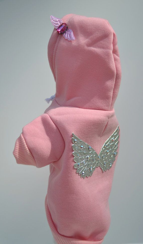 Angel Wings Pink Dog Hoodie Sweatshirt by KOCouture on Etsy  Angel Wings, dog clothes, dog hoodie, pink, puppy, crystals, bling, pet apparel, yorkie, chihuahua, dog shirt, kocouture