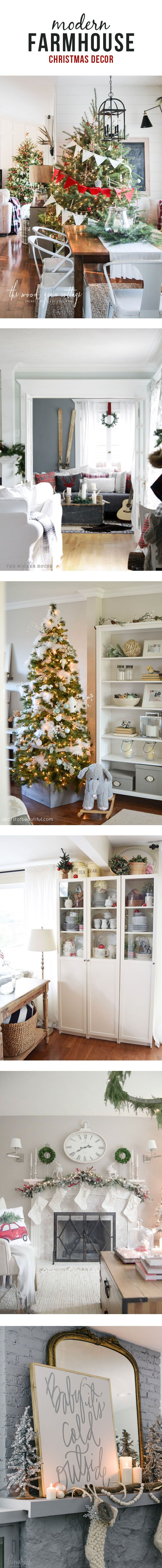 Modern farmhouse Christmas decor. Holiday home tours. Swoon worthy home decor. Rustic chic.
