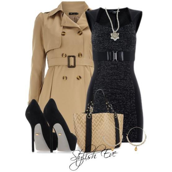 beige and black pumps
