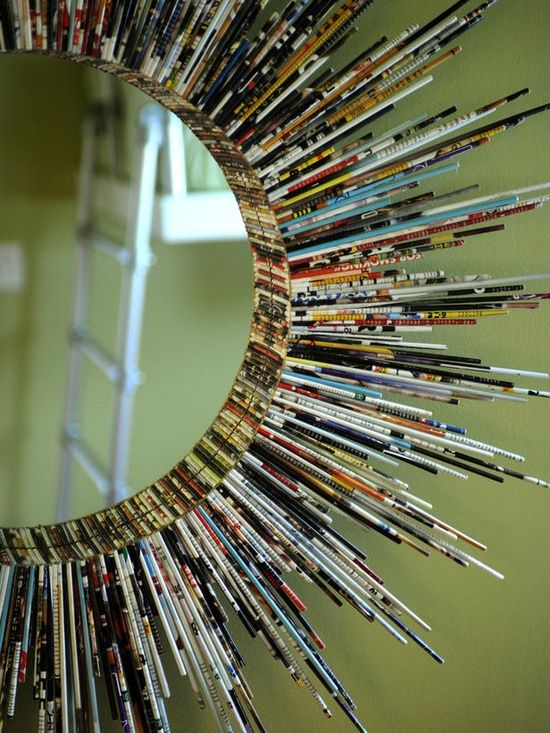 10 Diy Cool Mirror Ideas.  Perfect use of old magazines