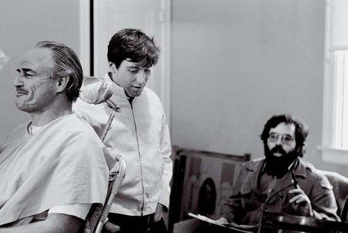 Marlon Brando, Al Pacino and Francis Ford Coppola on the set of The Godfather