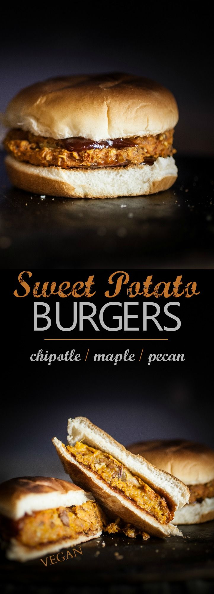 Produce On Parade - Chipotle Maple Sweet Potato Burgers - These perfectly textured vegan, sweet potato burgers have a hint of maple sweetness and a smoky chipotle kick.