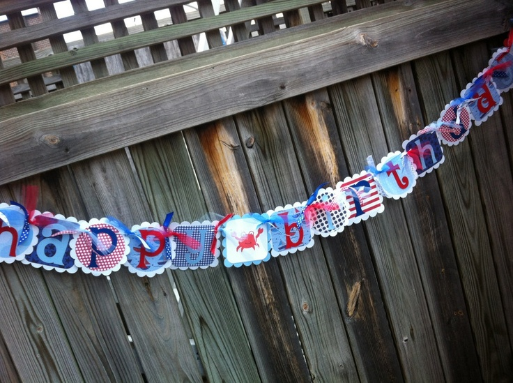 Nautical Themed HAPPY BIRTHDAY Banner in light blue, blue & reds with Sailboats and Crab. $30.00, via Etsy.