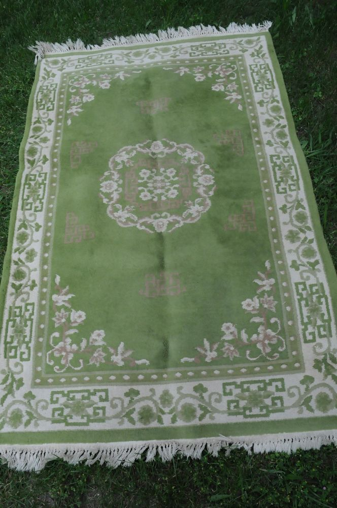 4x6 Sage Green Area Rug Ivory Border Pink Floral Oriental