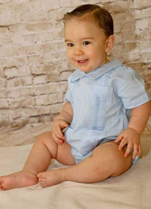 Infants Guayaberas Short Sleeve Shirt. Linen 100 %. Unisex. Want. So bad.