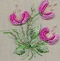 has stem stitch, couching, leaves, bullion, cast-on, pistil and French knots1223
