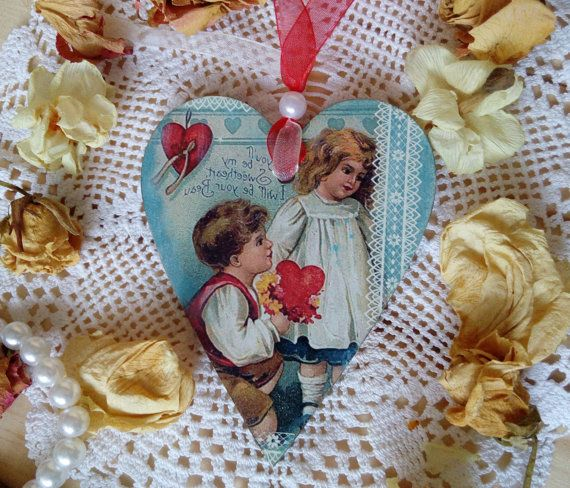 Wooden heart Romantic heart Valentines day gift Valentines heart in vintage style Decoupage heart Gift for girtlfriend Romantic gift