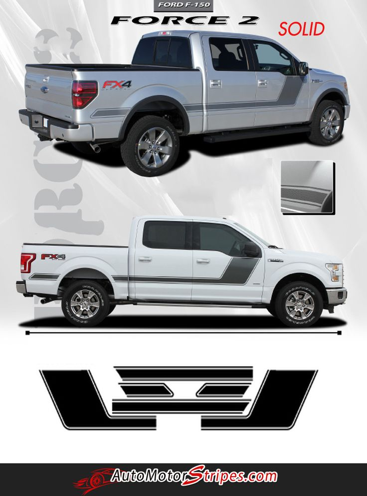 2009 2014 and 2015 2018 ford f 150 force 2 two factory style hockey stick side vinyl decal graphic stripes
