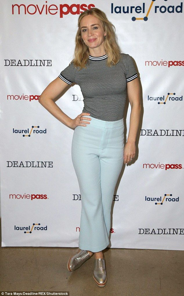 Low-key chic: Emily Blunt, 35, continued her promotional duties for the movie A Quiet Place as she attended the Deadline Studio event at the SXSW Festival in Austin, Texas on Saturday