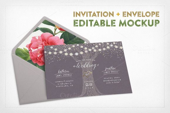 Invitation+Envelope Editable Mockup by Hype Your Prints on Creative Market http://crtv.mk/i0LWk