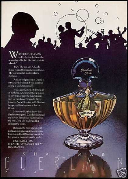 Shalimar.  I have a vintage ad similar to this one that shows just the gorgeous bottle with the blue stopper.  Never cared for the fragrance, but that bottle is iconic!