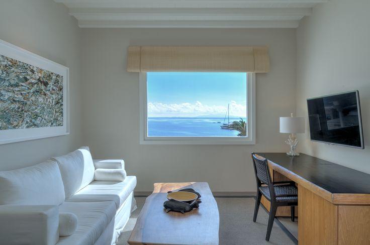 Deluxe Seaview Suite Lounge Window View | Santa Marina, A Luxury Collection Resort, Mykonos