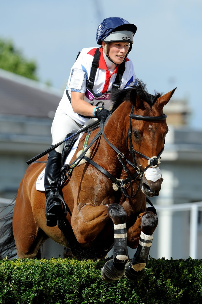 Zara Phillips, competing in her Olympic Equestrian Event, was cheered on by royal family members William, Harry, Prince Philip, Kate, Camilla, Beatrice and Eugenie.